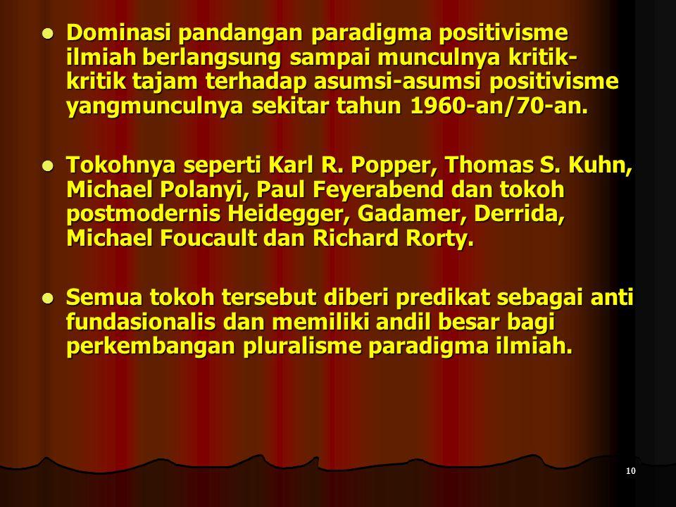 10 Dominasi pandangan paradigma positivisme ilmiah berlangsung sampai munculnya kritik- kritik tajam terhadap asumsi-asumsi positivisme yangmunculnya sekitar tahun 1960-an/70-an.