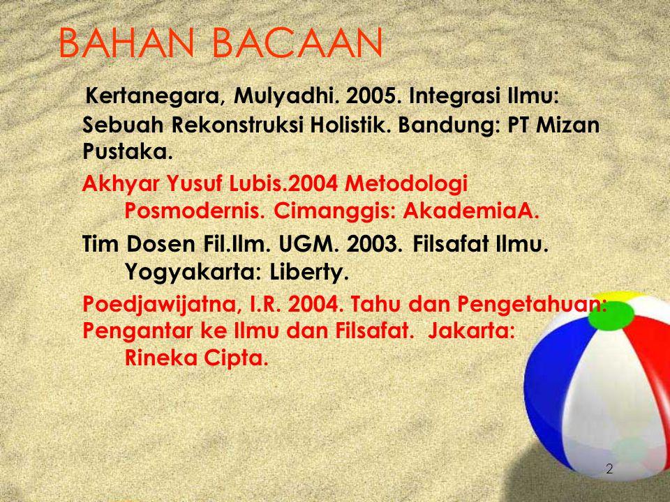 2 BAHAN BACAAN Kertanegara, Mulyadhi. 2005. Integrasi Ilmu: Sebuah Rekonstruksi Holistik.