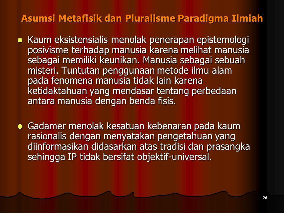 26 Asumsi Metafisik dan Pluralisme Paradigma Ilmiah Kaum eksistensialis menolak penerapan epistemologi posivisme terhadap manusia karena melihat manusia sebagai memiliki keunikan.