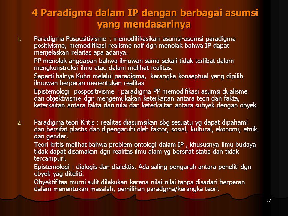 27 4 Paradigma dalam IP dengan berbagai asumsi yang mendasarinya 4 Paradigma dalam IP dengan berbagai asumsi yang mendasarinya 1.