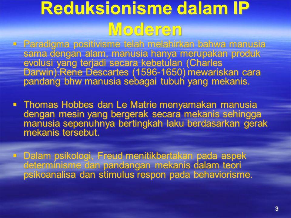 3 Reduksionisme dalam IP Moderen  Paradigma positivisme telah melahirkan bahwa manusia sama dengan alam, manusia hanya merupakan produk evolusi yang terjadi secara kebetulan (Charles Darwin).Rene Descartes (1596-1650) mewariskan cara pandang bhw manusia sebagai tubuh yang mekanis.