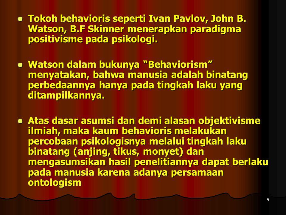 9 Tokoh behavioris seperti Ivan Pavlov, John B.