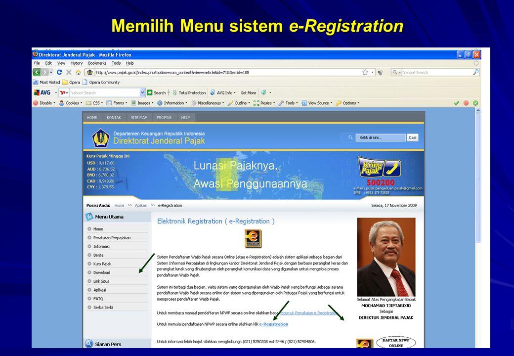 Memilih Menu sistem e-Registration