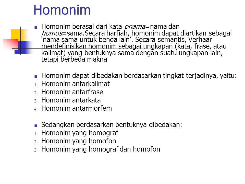 Homonim Homonim berasal dari kata onama=nama dan homos=sama.Secara harfiah, homonim dapat diartikan sebagai 'nama sama untuk benda lain'. Secara seman