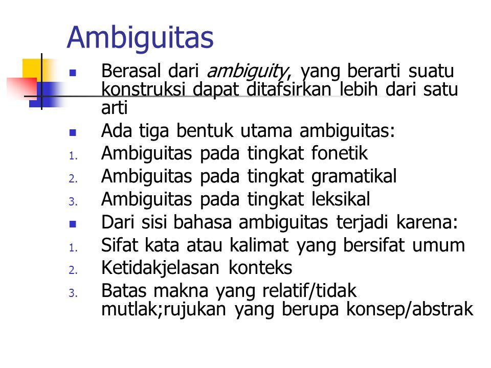 Ambiguitas Berasal dari ambiguity, yang berarti suatu konstruksi dapat ditafsirkan lebih dari satu arti Ada tiga bentuk utama ambiguitas: 1. Ambiguita