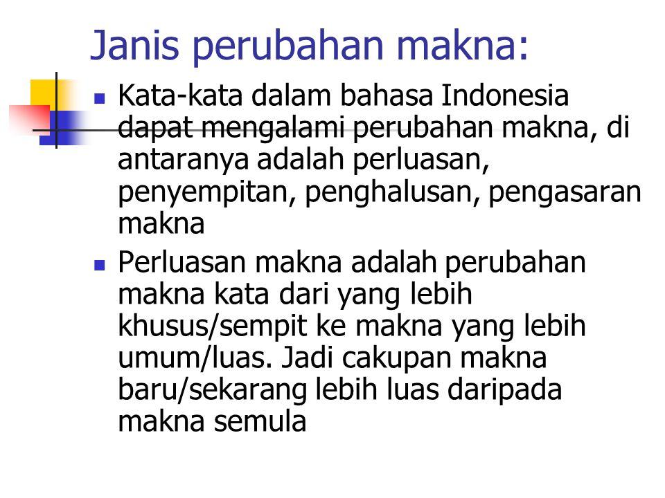 Janis perubahan makna: Kata-kata dalam bahasa Indonesia dapat mengalami perubahan makna, di antaranya adalah perluasan, penyempitan, penghalusan, peng