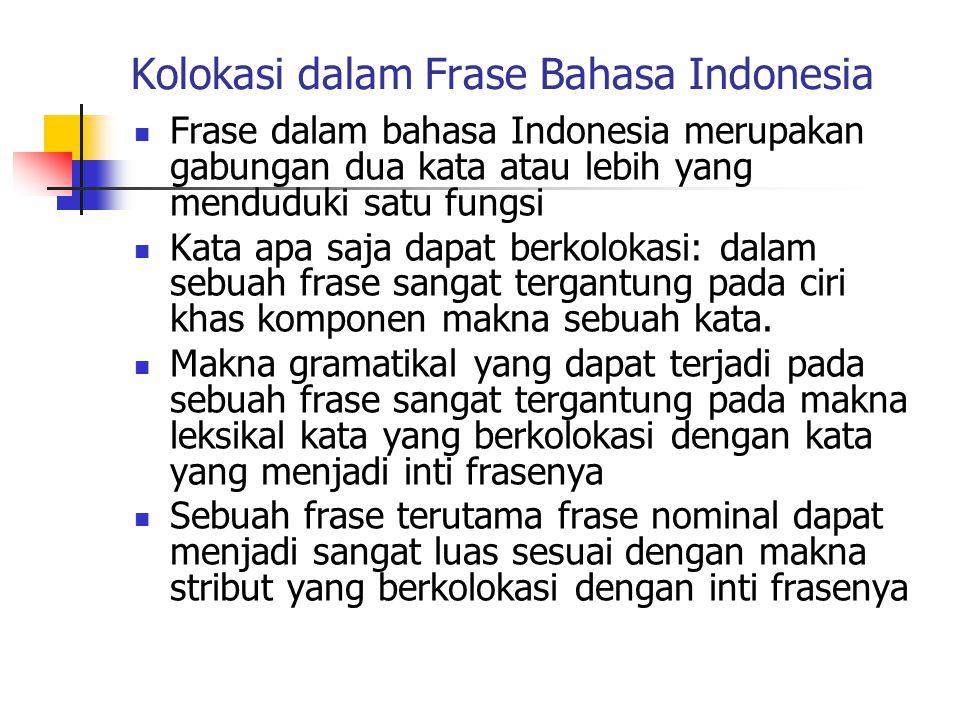 Kolokasi dalam Frase Bahasa Indonesia Frase dalam bahasa Indonesia merupakan gabungan dua kata atau lebih yang menduduki satu fungsi Kata apa saja dap