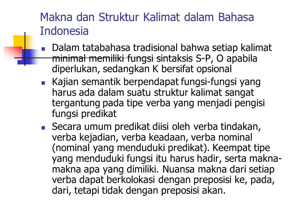 Makna dan Struktur Kalimat dalam Bahasa Indonesia Dalam tatabahasa tradisional bahwa setiap kalimat minimal memiliki fungsi sintaksis S-P, O apabila d