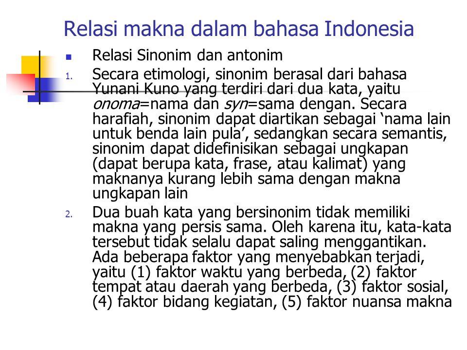 Relasi makna dalam bahasa Indonesia Relasi Sinonim dan antonim 1. Secara etimologi, sinonim berasal dari bahasa Yunani Kuno yang terdiri dari dua kata