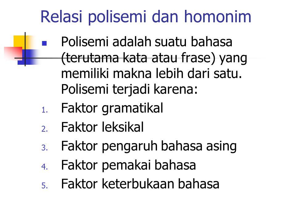 Relasi polisemi dan homonim Polisemi adalah suatu bahasa (terutama kata atau frase) yang memiliki makna lebih dari satu. Polisemi terjadi karena: 1. F