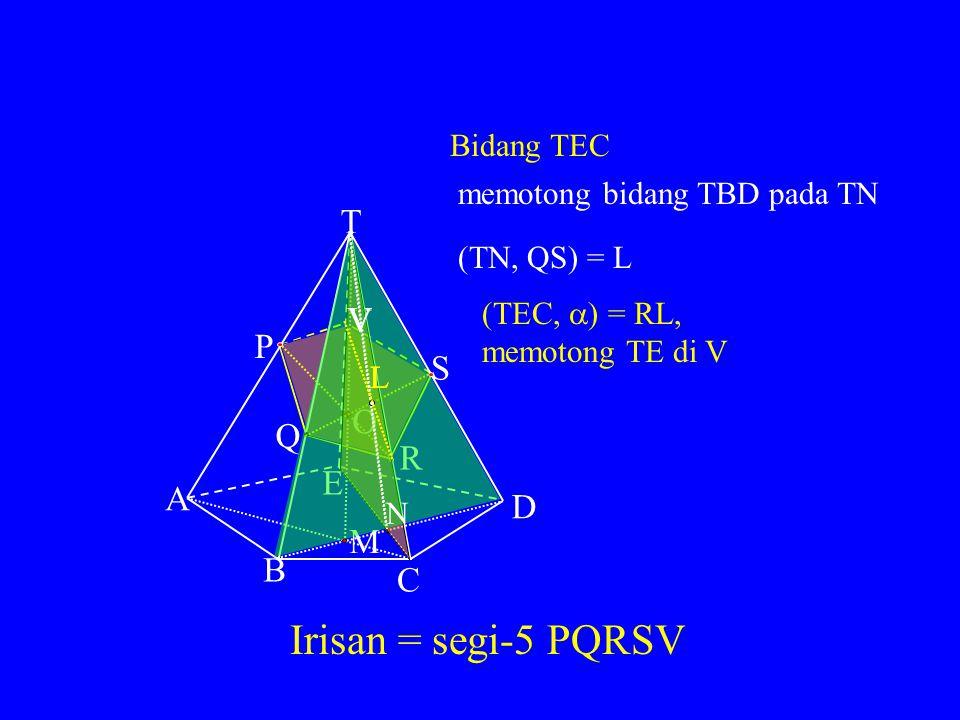 MENGGUNAKAN BIDANG DIAGONAL T A B C D E P Q S R Misal bidang pengiris = bidang PQR = bidang  ) Lukis bidang TAC (memuat PR yang juga terletak pada bidang  ) Lukis bidang TBD (memuat Q pada bidang  ) (AC, BD) = M, maka: (TAC, TBD) = TM M MM (TM, PR) titik O O (TBD,  ) = QO, memotong TD di S OO S S