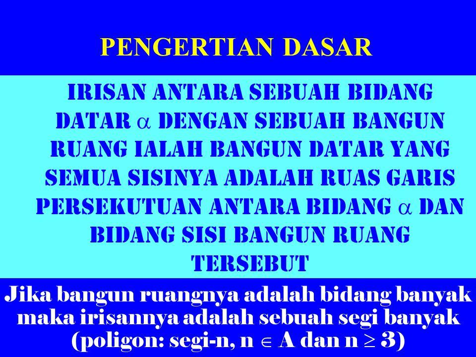 Dimensi tiga: IRISAN Oleh: Al. Krismanto, M.Sc. Widyaiswara PPPG Matematika Yogyakarta KELAS III SMU CAWU 1