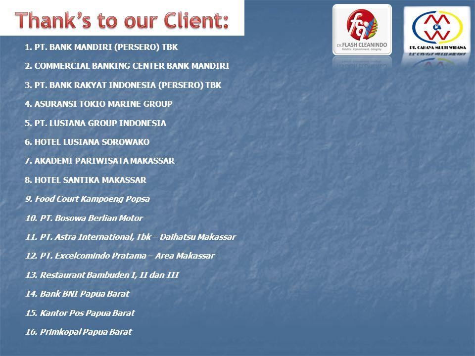 1. PT. BANK MANDIRI (PERSERO) TBK 2. COMMERCIAL BANKING CENTER BANK MANDIRI 3. PT. BANK RAKYAT INDONESIA (PERSERO) TBK 4. ASURANSI TOKIO MARINE GROUP