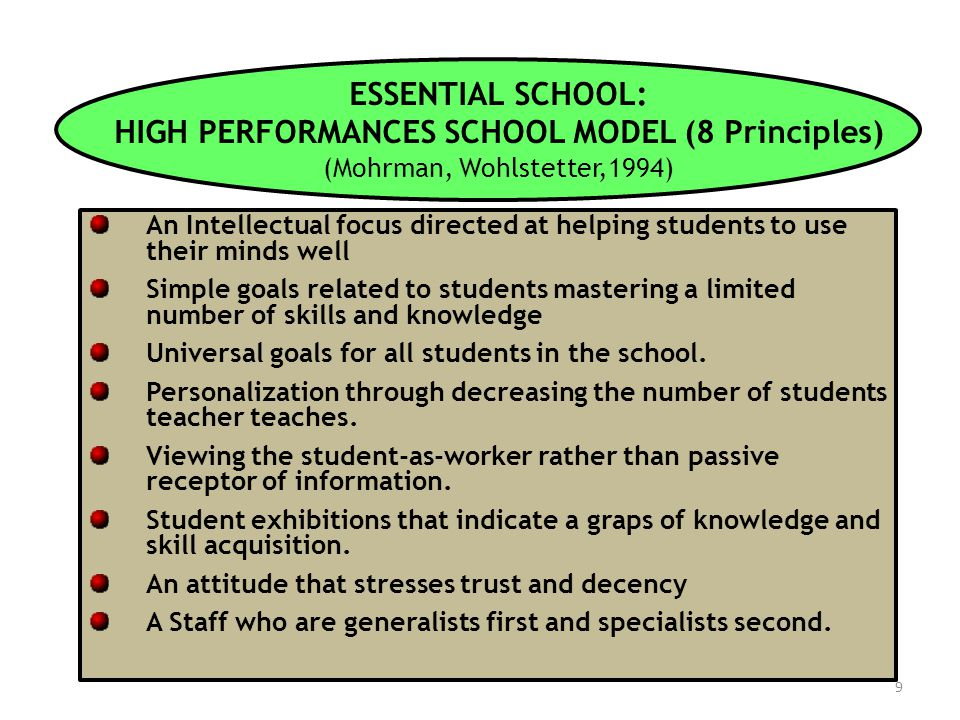 9 ESSENTIAL SCHOOL: HIGH PERFORMANCES SCHOOL MODEL (8 Principles) (Mohrman, Wohlstetter,1994) An Intellectual focus directed at helping students to us