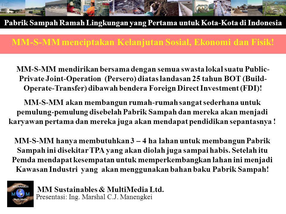 Pabrik Sampah Ramah Lingkungan yang Pertama untuk Kota-Kota di Indonesia MM-S-MM mendirikan bersama dengan semua swasta lokal suatu Public- Private Jo