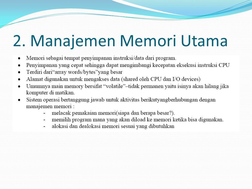 2. Manajemen Memori Utama