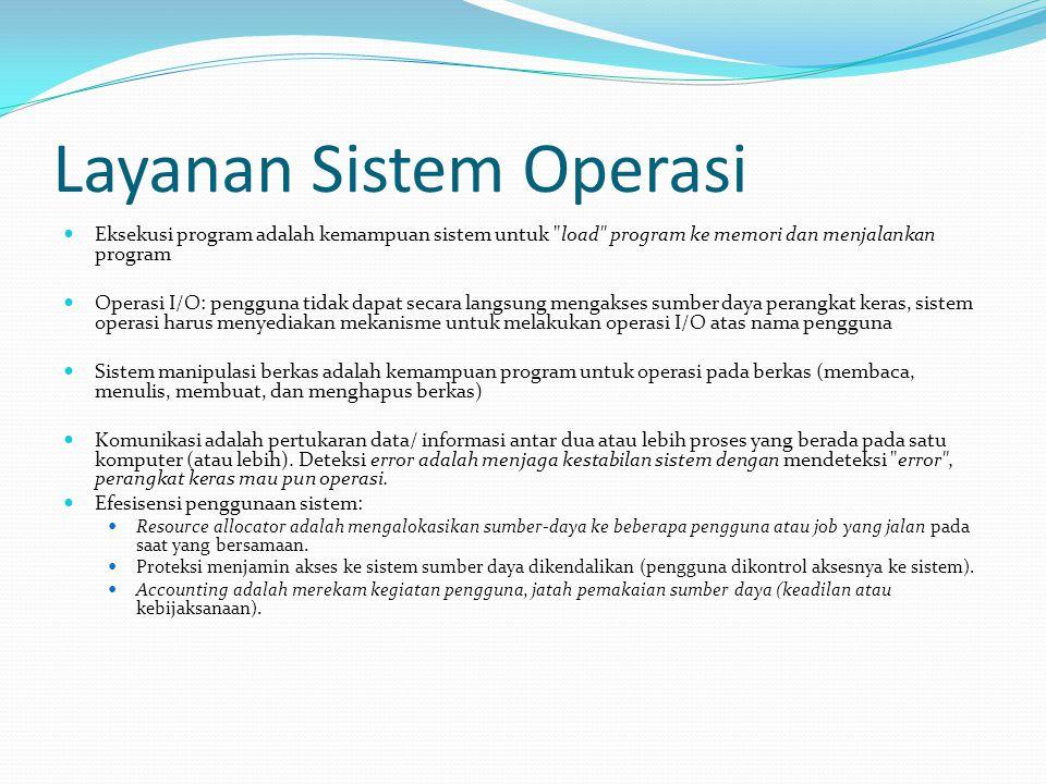 Layanan Sistem Operasi Eksekusi program adalah kemampuan sistem untuk