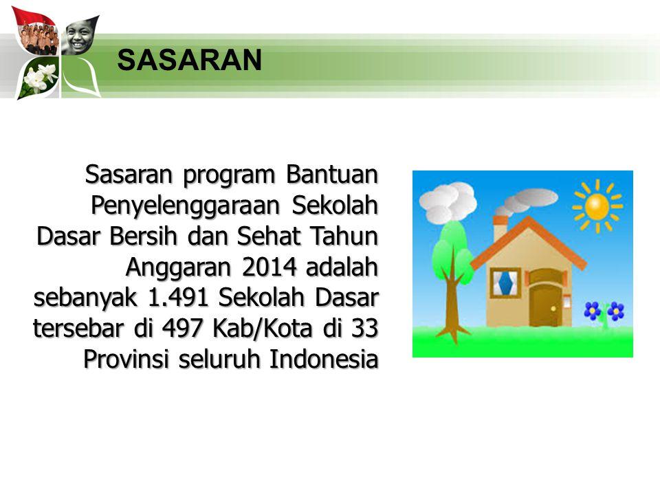 12 SASARAN Sasaran program Bantuan Penyelenggaraan Sekolah Dasar Bersih dan Sehat Tahun Anggaran 2014 adalah sebanyak 1.491 Sekolah Dasar tersebar di