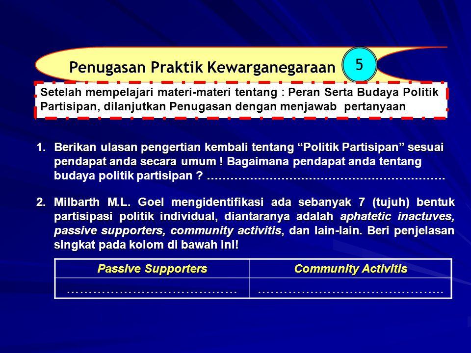 Penugasan Praktik Kewarganegaraan 5 1.Berikan ulasan pengertian kembali tentang Politik Partisipan sesuai pendapat anda secara umum .