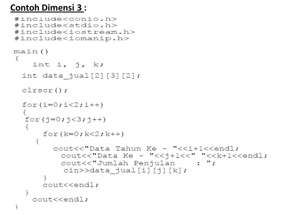 Contoh Dimensi 3 :