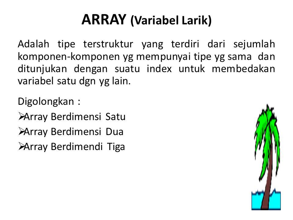 ARRAY (Variabel Larik) Adalah tipe terstruktur yang terdiri dari sejumlah komponen-komponen yg mempunyai tipe yg sama dan ditunjukan dengan suatu index untuk membedakan variabel satu dgn yg lain.