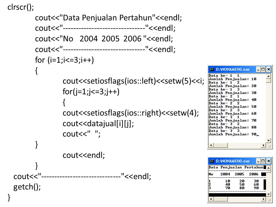 clrscr(); cout<< Data Penjualan Pertahun <<endl; cout<< ------------------------------- <<endl; cout<< No 2004 2005 2006 <<endl; cout<< ------------------------------- <<endl; for (i=1;i<=3;i++) { cout<<setiosflags(ios::left)<<setw(5)<<i; for(j=1;j<=3;j++) { cout<<setiosflags(ios::right)<<setw(4); cout<<datajual[i][j]; cout<< ; } cout<<endl; } cout<< ------------------------------ <<endl; getch(); }