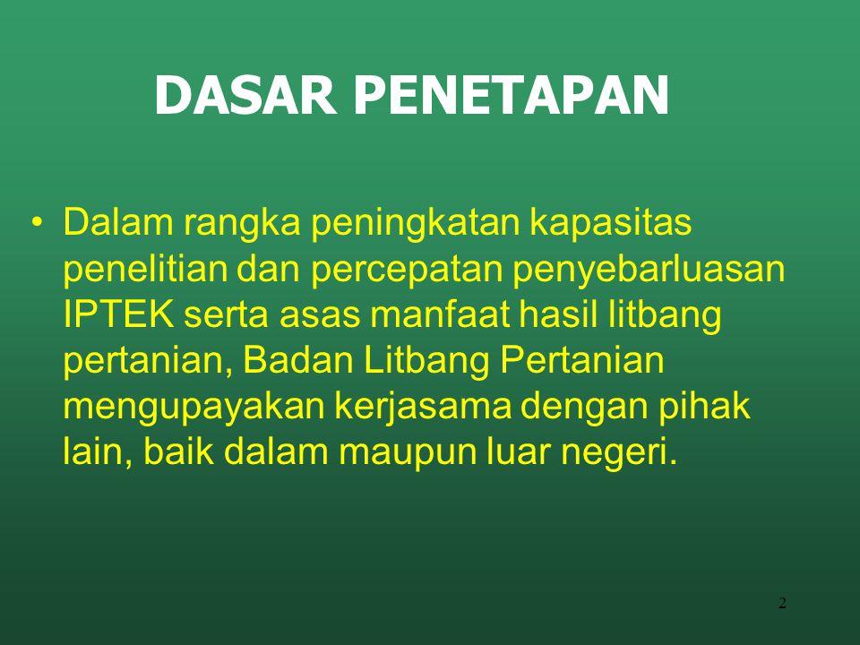 3 DASAR HUKUM Terutama antara lain : UU 18 Tahun 2002 Tentang Sistem Nasional Penelitian, Pengembangan, dan Penerapan IPTEK PP No.