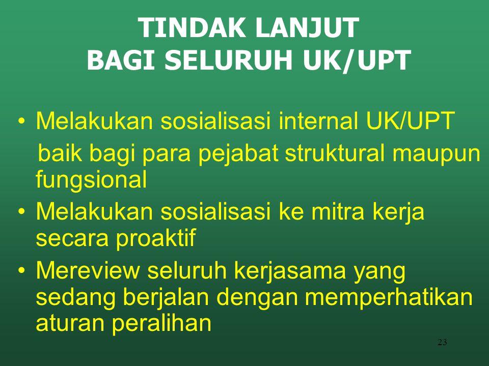 23 TINDAK LANJUT BAGI SELURUH UK/UPT Melakukan sosialisasi internal UK/UPT baik bagi para pejabat struktural maupun fungsional Melakukan sosialisasi k