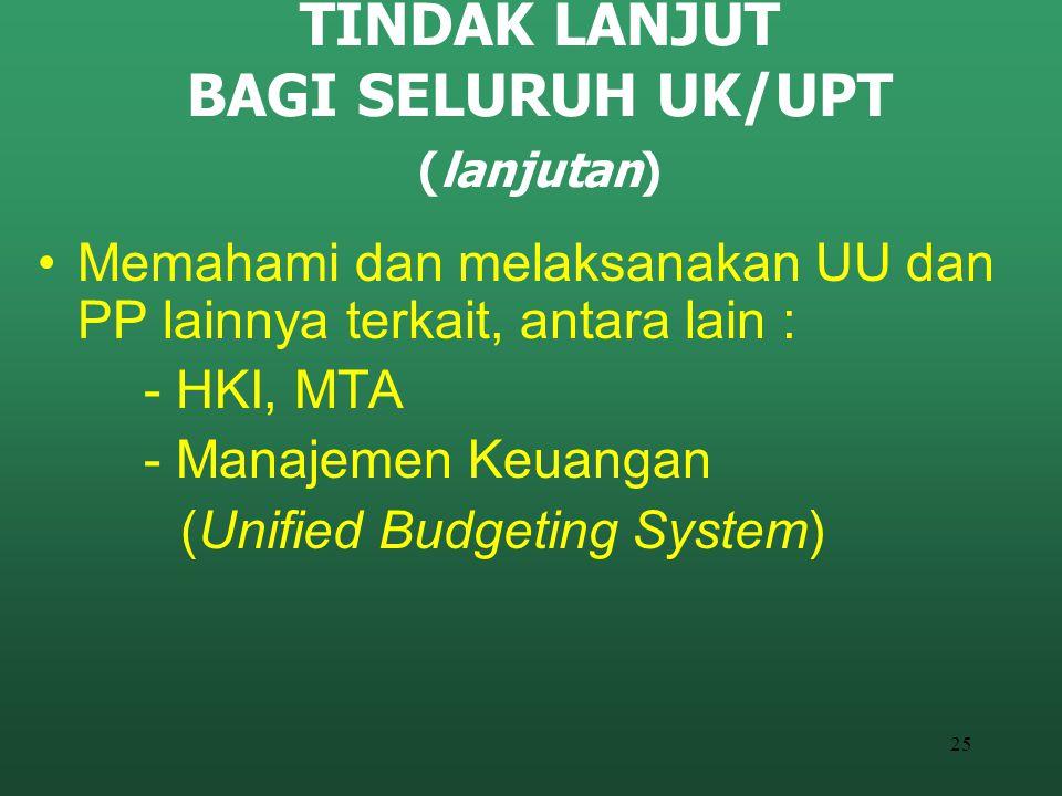 25 TINDAK LANJUT BAGI SELURUH UK/UPT (lanjutan) Memahami dan melaksanakan UU dan PP lainnya terkait, antara lain : - HKI, MTA - Manajemen Keuangan (Un