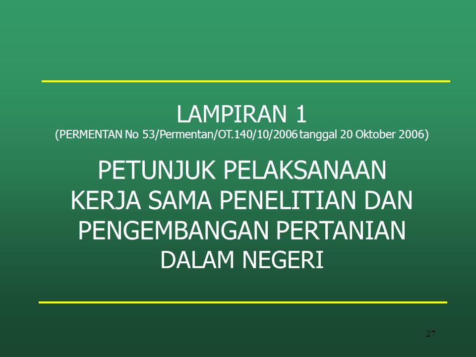 27 LAMPIRAN 1 (PERMENTAN No 53/Permentan/OT.140/10/2006 tanggal 20 Oktober 2006) PETUNJUK PELAKSANAAN KERJA SAMA PENELITIAN DAN PENGEMBANGAN PERTANIAN