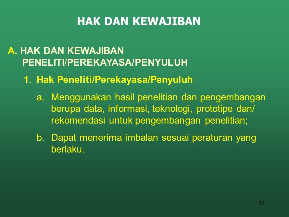 33 HAK DAN KEWAJIBAN A. HAK DAN KEWAJIBAN PENELITI/PEREKAYASA/PENYULUH 1.Hak Peneliti/Perekayasa/Penyuluh a.Menggunakan hasil penelitian dan pengemban