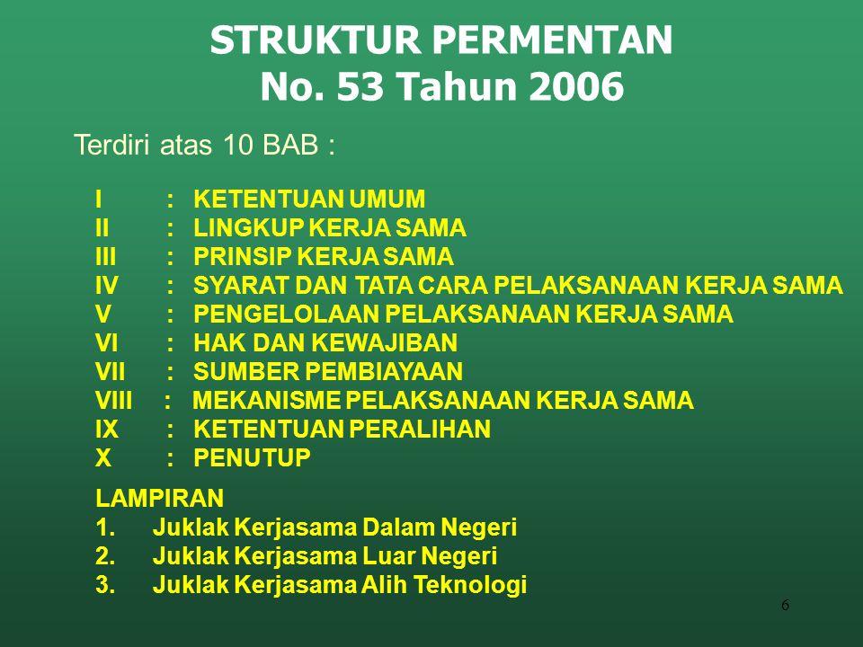 6 STRUKTUR PERMENTAN No. 53 Tahun 2006 I : KETENTUAN UMUM II : LINGKUP KERJA SAMA III : PRINSIP KERJA SAMA IV : SYARAT DAN TATA CARA PELAKSANAAN KERJA