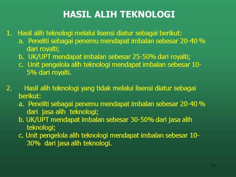 60 HASIL ALIH TEKNOLOGI 1. Hasil alih teknologi melalui lisensi diatur sebagai berikut: a. Peneliti sebagai penemu mendapat imbalan sebesar 20-40 % da