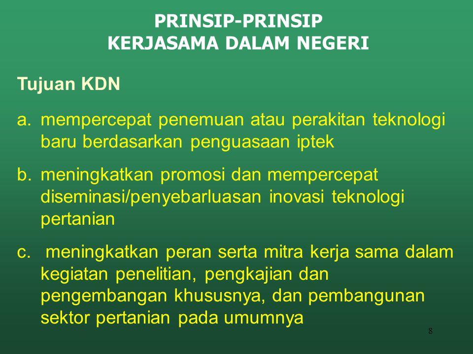 8 PRINSIP-PRINSIP KERJASAMA DALAM NEGERI Tujuan KDN a.mempercepat penemuan atau perakitan teknologi baru berdasarkan penguasaan iptek b.meningkatkan p