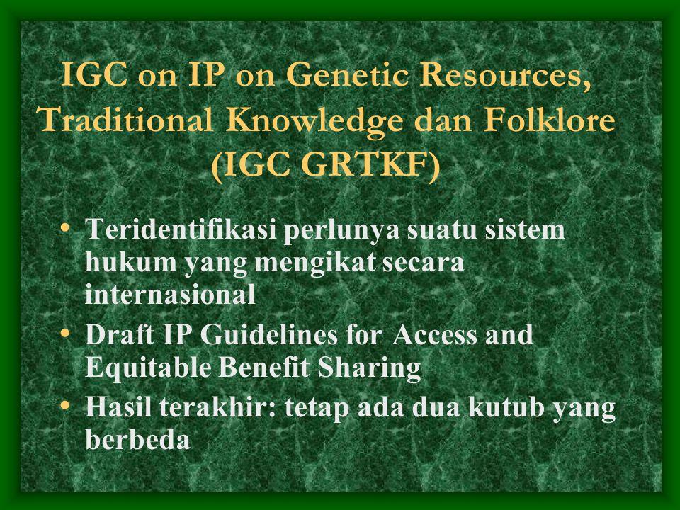 IGC on IP on Genetic Resources, Traditional Knowledge dan Folklore (IGC GRTKF) Teridentifikasi perlunya suatu sistem hukum yang mengikat secara intern