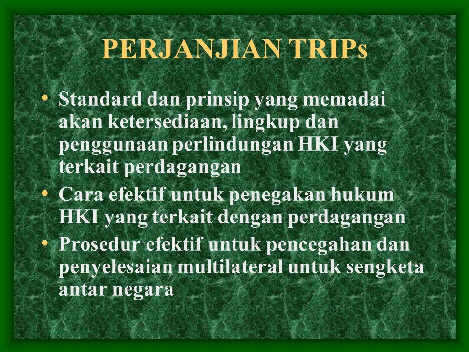 PERJANJIAN TRIPs Standard dan prinsip yang memadai akan ketersediaan, lingkup dan penggunaan perlindungan HKI yang terkait perdagangan Cara efektif un