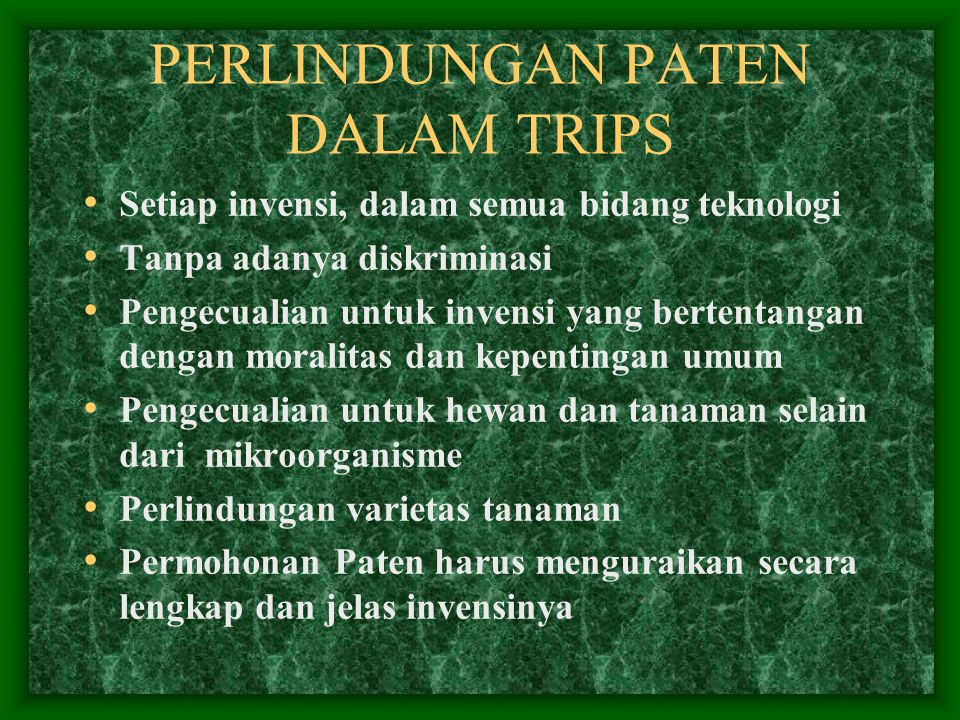 PENERAPAN TRIPs DI INDONESIA (UU Paten No.