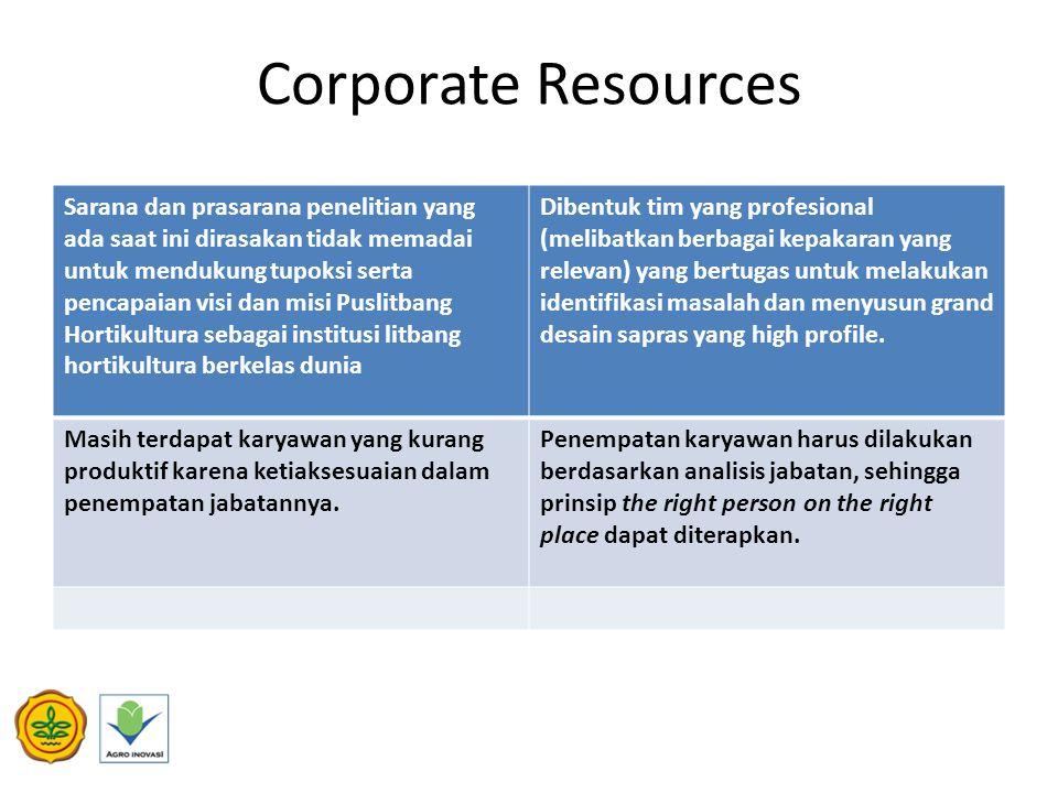 Corporate Resources Sarana dan prasarana penelitian yang ada saat ini dirasakan tidak memadai untuk mendukung tupoksi serta pencapaian visi dan misi P