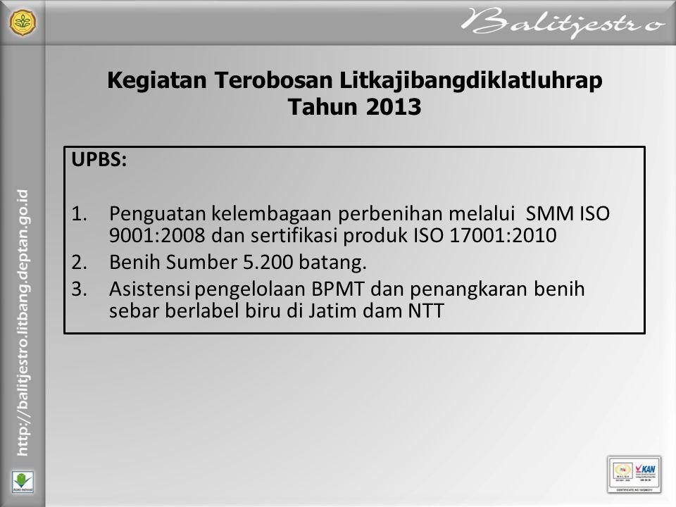 UPBS: 1.Penguatan kelembagaan perbenihan melalui SMM ISO 9001:2008 dan sertifikasi produk ISO 17001:2010 2.Benih Sumber 5.200 batang. 3.Asistensi peng