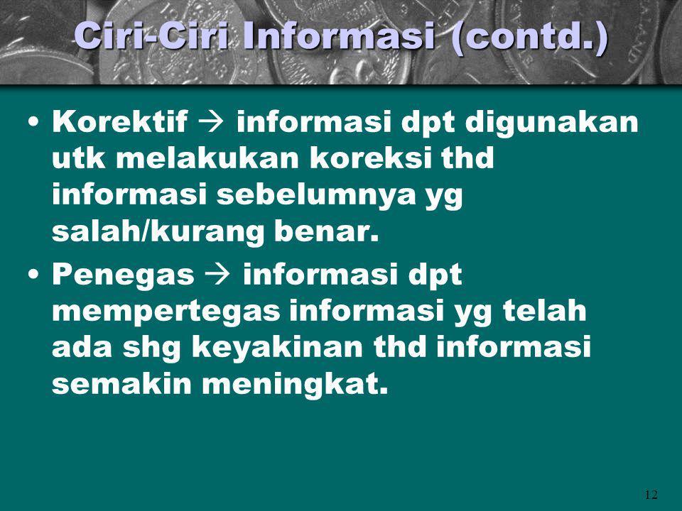 12 Ciri-Ciri Informasi (contd.) Korektif  informasi dpt digunakan utk melakukan koreksi thd informasi sebelumnya yg salah/kurang benar. Penegas  inf