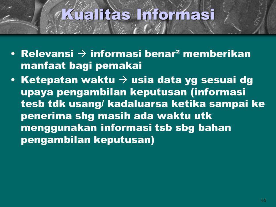 16 Kualitas Informasi Relevansi  informasi benar² memberikan manfaat bagi pemakai Ketepatan waktu  usia data yg sesuai dg upaya pengambilan keputusa