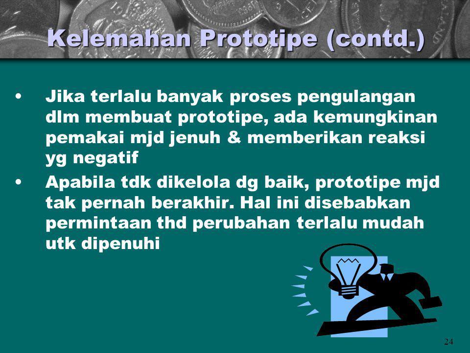 24 Kelemahan Prototipe (contd.) Jika terlalu banyak proses pengulangan dlm membuat prototipe, ada kemungkinan pemakai mjd jenuh & memberikan reaksi yg