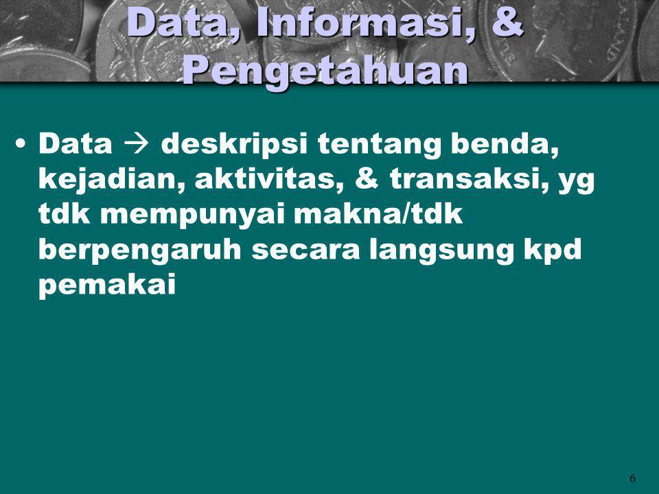 6 Data, Informasi, & Pengetahuan Data  deskripsi tentang benda, kejadian, aktivitas, & transaksi, yg tdk mempunyai makna/tdk berpengaruh secara langs