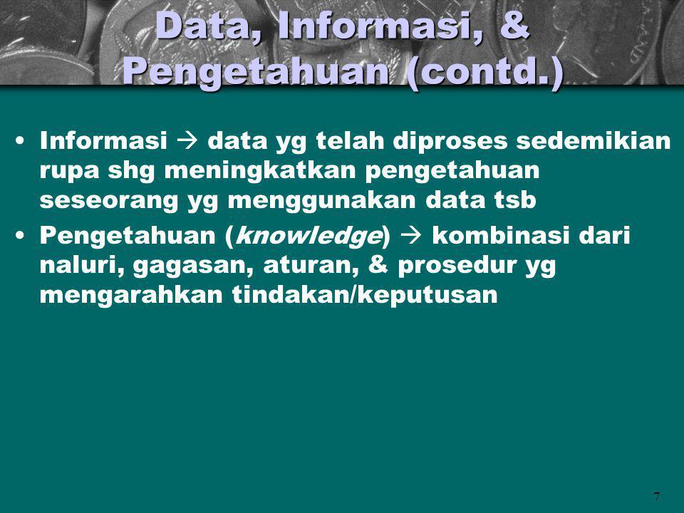 7 Data, Informasi, & Pengetahuan (contd.) Informasi  data yg telah diproses sedemikian rupa shg meningkatkan pengetahuan seseorang yg menggunakan dat