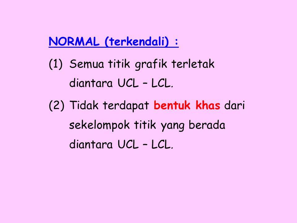 NORMAL (terkendali) : (1)Semua titik grafik terletak diantara UCL – LCL. (2)Tidak terdapat bentuk khas dari sekelompok titik yang berada diantara UCL