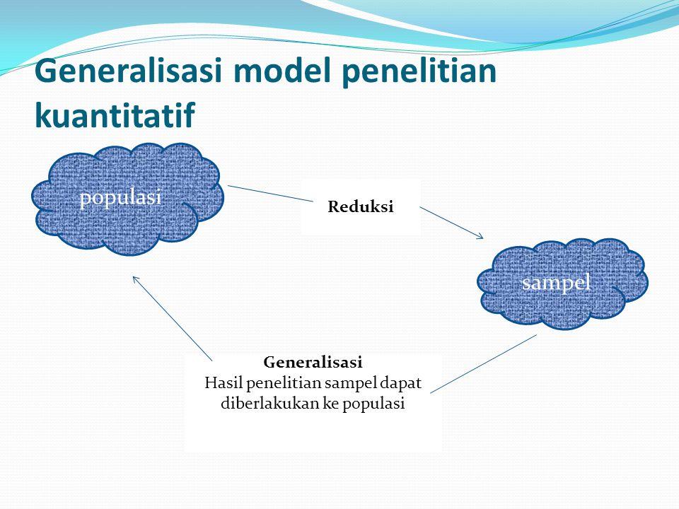 Generalisasi model penelitian kuantitatif populasi sampel Generalisasi Hasil penelitian sampel dapat diberlakukan ke populasi Reduksi