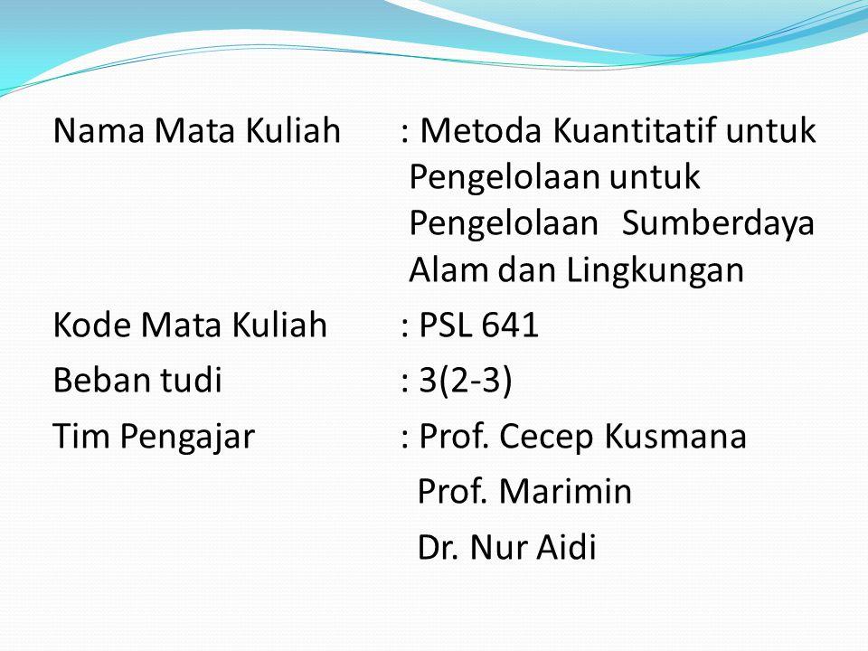 Nama Mata Kuliah: Metoda Kuantitatif untuk Pengelolaan untuk Pengelolaan Sumberdaya Alam dan Lingkungan Kode Mata Kuliah: PSL 641 Beban tudi : 3(2-3) Tim Pengajar: Prof.