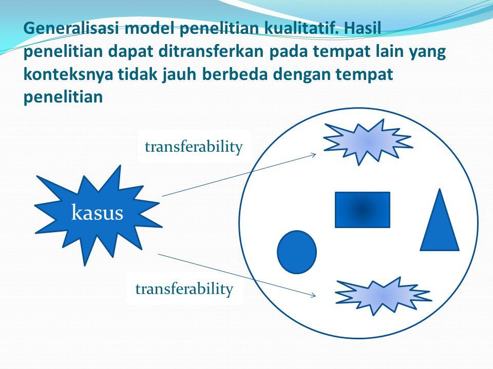 Generalisasi model penelitian kualitatif.