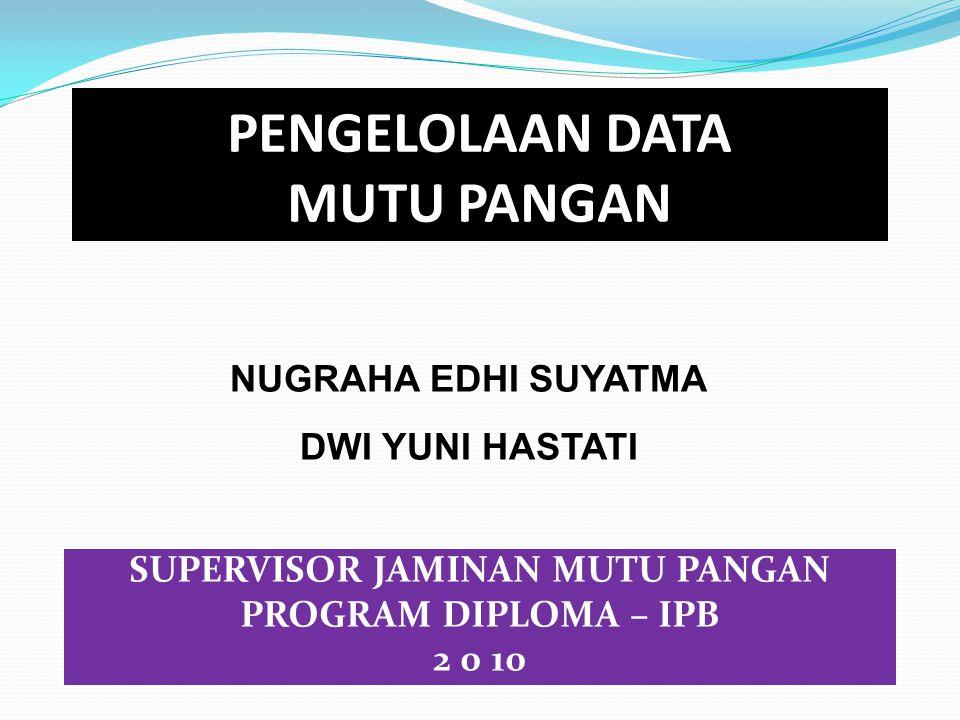 PENGELOLAAN DATA MUTU PANGAN SUPERVISOR JAMINAN MUTU PANGAN PROGRAM DIPLOMA – IPB 2 0 10 NUGRAHA EDHI SUYATMA DWI YUNI HASTATI