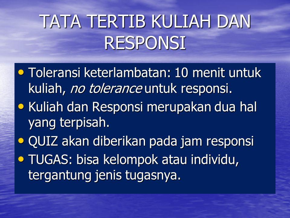 TATA TERTIB KULIAH DAN RESPONSI Toleransi keterlambatan: 10 menit untuk kuliah, no tolerance untuk responsi. Toleransi keterlambatan: 10 menit untuk k